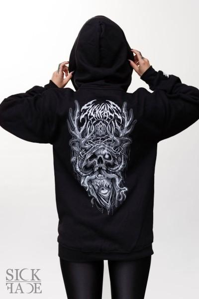 Černá čepice snapback značky SickFace s výšivkou satanský kříž leviathan vepředu.