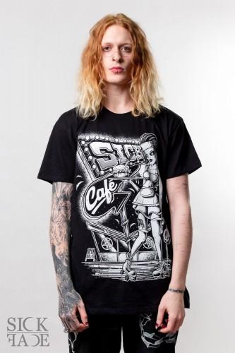 Černé pánské triko značky SickFace s motivem zombie servírka před kavárnou ve stylu padesátých let.