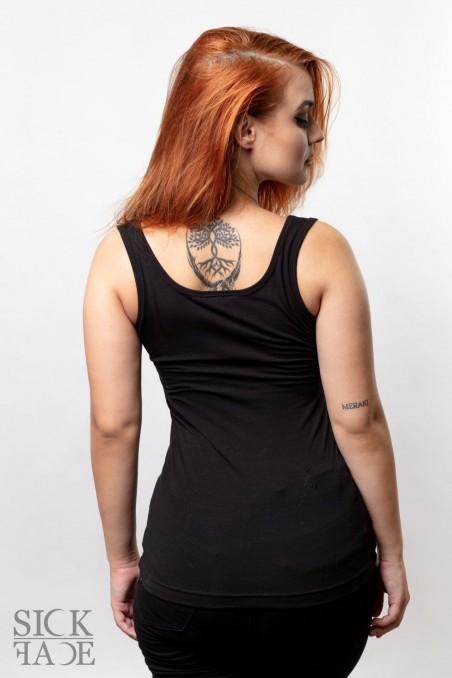 Black ladies round neck top back.