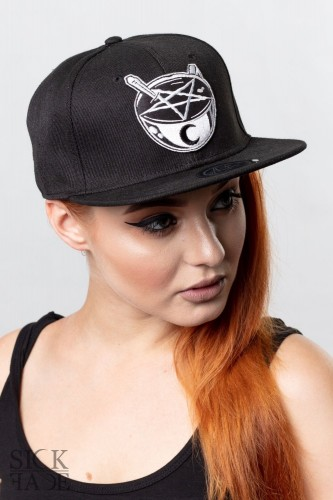 Black Sickface snapback with an occult coffee applique.