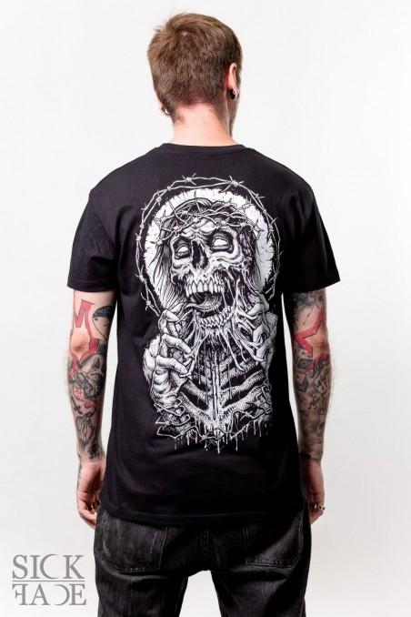 Černé pánské triko s motivem na zádech metal zombie s trnovou korunou trhající si obličej.