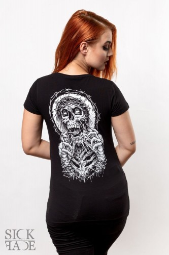 Black fitted T-shirt with a zombie crowned with thorns tearing its face off on the back.