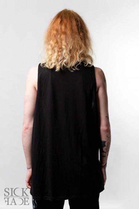 Black unisex top round neck back.