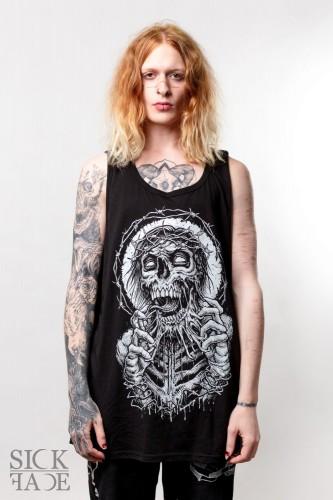 Černé pánské tílko s motivem metal zombie s trnovou korunou trhající si obličej.