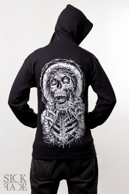 Black unisex SickFace hoodie with zombie crowned with thorns tearing its face off on the back.