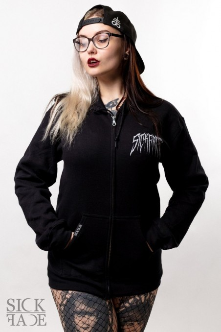 Black unisex SickFace hoodie with a zipper. SickFace logo is printed on the upper right chest.