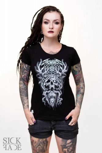 Black fitted T-shirt depicting a skull with burning eye, antlers and a crown of thorns.