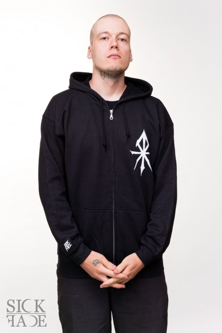 Black unisex SickFace hoodie with a zipper. SickFace rune is printed on the upper right chest.