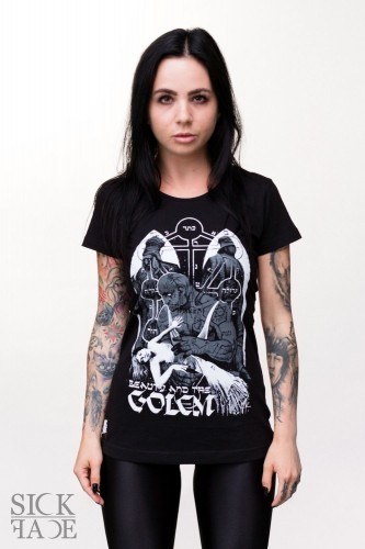 Black fitted t-shirt with unconscious lady in arms of the mythical golem.