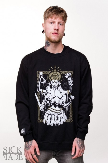 Černá unisex mikina, na které je hinduistická bohyně Kálí.