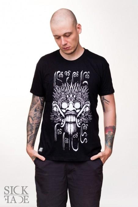 Černé pánské tričko SickFace, na kterém je král duchů Barong.