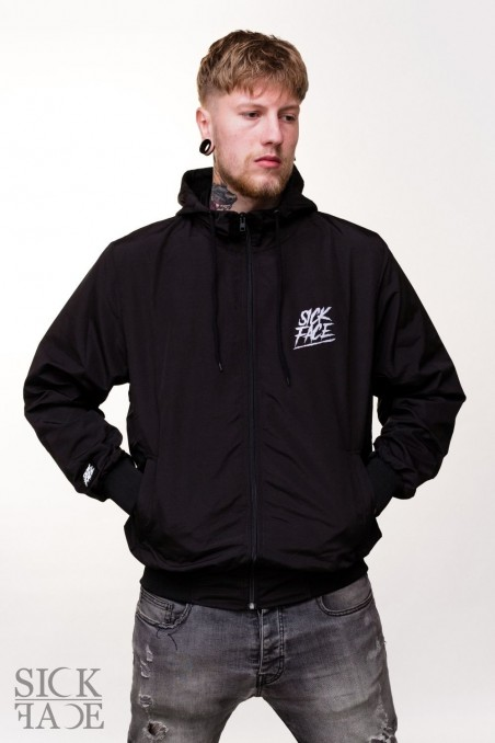 Unisex SickFace windbreaker frontview, SickFace brand logo is on the upper right chest.