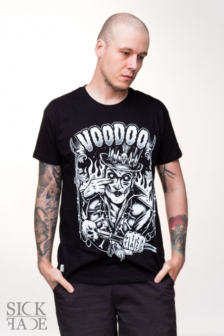 Black unisex t-shirt with Baron Samedi with a large Voodoo lettering.
