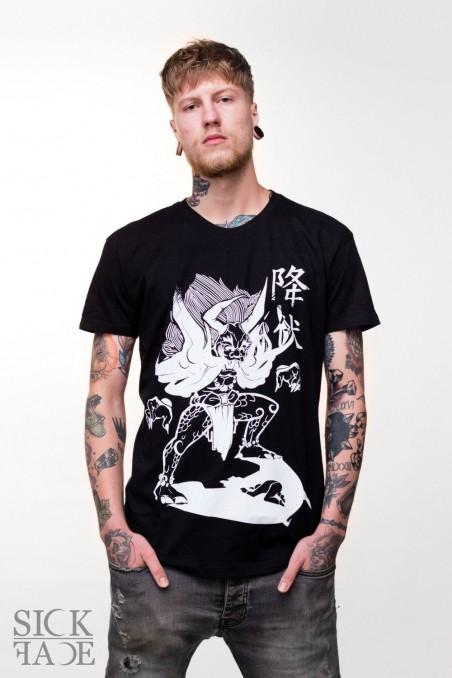 Black unisex t-shirt with Japanese demon Yokai.