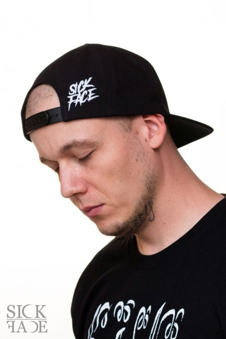 Snapback sideview with focus on SickFace logo embroidery on back.