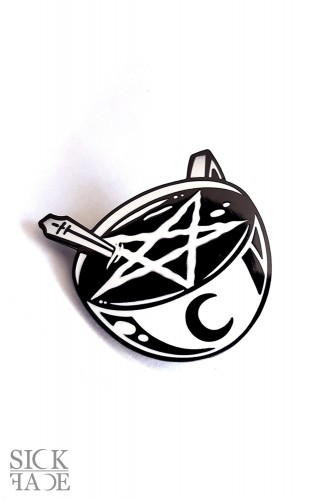 Enamel pin with a cup of occult pentagram coffee.