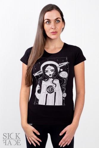 Černé dámské triko značky SickFace s motivem vesmírné krasavice.