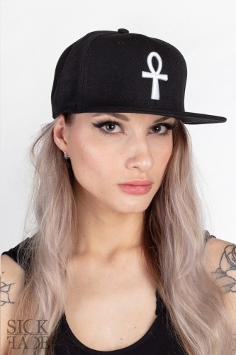 Black SickFace snapback with an Egyptian Ankh cross embroidery in front.