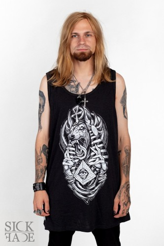 Black unisex top with the Egyptian god Anubis.