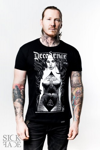 """Black unisex SickFace T-shirt with black and white nun design, signed """"Decadence"""" ."""