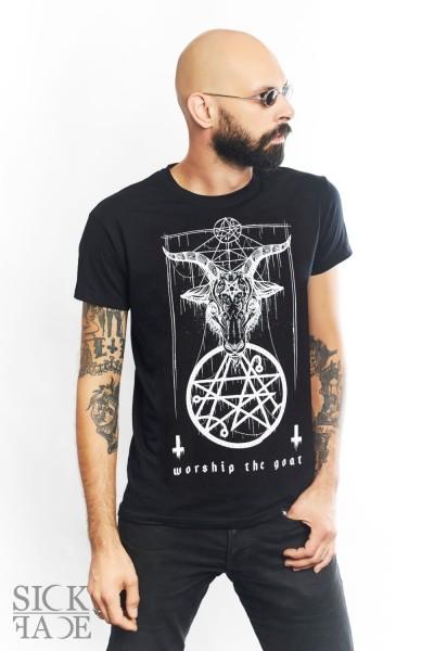 Model in a black unisex SickFace T-shirt with Baphomet, a goat head above pentagram symbol.