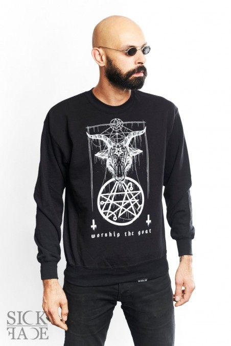 Black unisex SickFace sweatshirt with Baphomet, a goat head above pentagram symbol.
