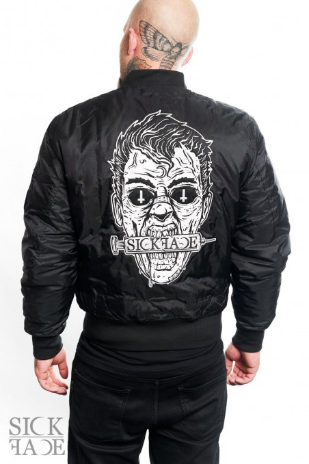 Unisex black SickFace bomber jacket with Zombie embroidery on the back.