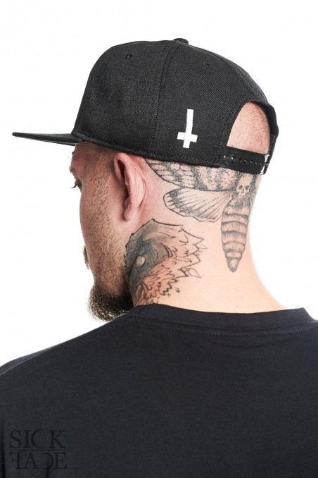 SickFace snapback with inverted cross on the back side.