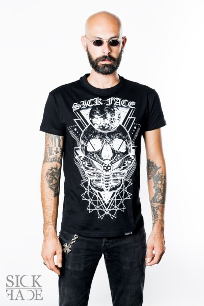 Black unisex SickFace T-shirt with a skull, dead head moth and gothic SickFace logo.