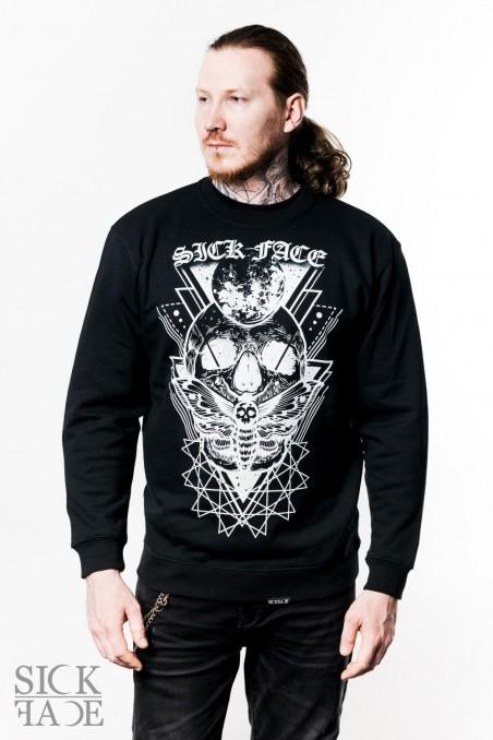 Black unisex SickFace sweatshirt with a skull, dead head moth and gothic SickFace logo.