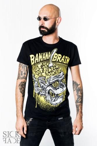 Pánské černé triko značky SickFace s bílým a žlutým motivem s opicí a s nápisem Banana Brain.