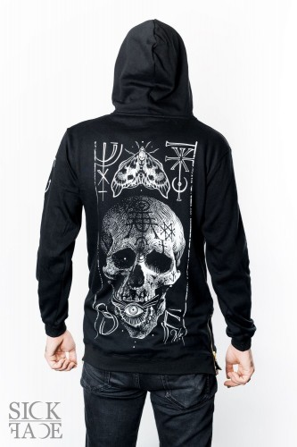 Black unisex long-cut hoodie with death's head moth and skull design.