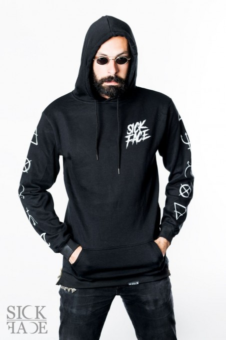Black long-cut hoodie with kangaroo pocket and SickFace brand logo on upper right chest.