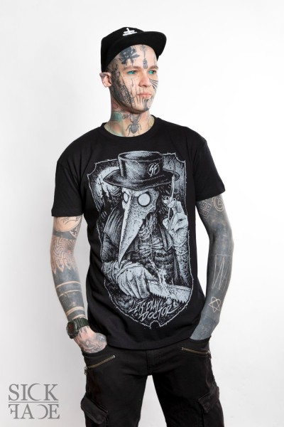 Black unisex SickFace T-shirt with a friendly neighborhood plague doctor brandishing a bonesaw and syringe.